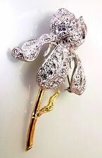 "Gold Plated Austrian Crystal Large Iris Corsage Brooch Coat Pin, 2.75"" T x 1.50"