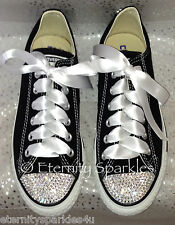Customised Black Crystal Bling Converse All Star Lo Made With SWAROVSKI ELEMENTS