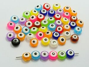 200 Mixed Colour Acrylic Kabbalah Evil Eye Coin Beads 8X5mm