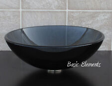 Bathroom Black Glass Vessel Sink with Chrome Pop Up Drain &Ring 12.5