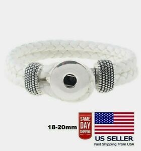 "Snap Jewelry White Leather Bracelet 8"" Unisex Fits 18-20mm Ginger Style Charms"