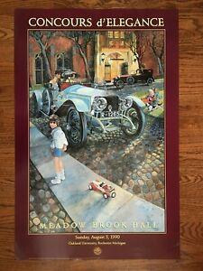 Vintage 1990 CONCOURS D'ELEGANCE Show Poster STANLEY WANLASS Artwork Rolls Royce