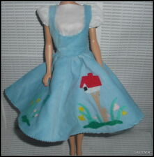 OUTFIT BARBIE DOLL  REPRO FRIDAY NIGHT DREAM DATE BLUE JUMPER WHITE UNDERDRESS