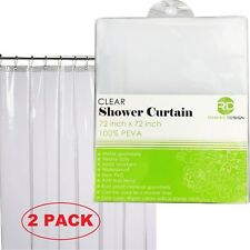 2 PACK Shower Curtain Clear 100% Waterproof, Eco-Friendly & Anti Bacterial