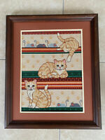 Vintage Hand Stitched Framed Needlepoint Framed Embroidery Cats Kittens Mice