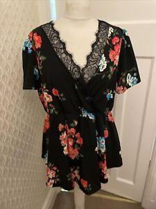 Asos Pretty Black Floral Blouse Top Size 16