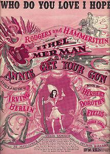 "Ethel Merman ""ANNIE GET YOUR GUN"" Irving Berlin 1946 Broadway Sheet Music"