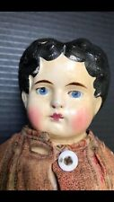15 Inch Black Haired, Blue Eyed paper mache All original doll