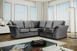 New BELLA Sofa Grey  PLUSH  VELVET CORNER SOFA 5 SEATER, OR 3+2 SET, ARMCHAIR