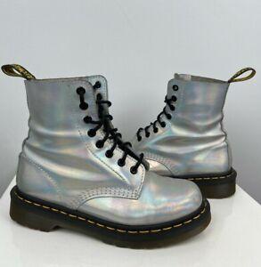 US6 Dr Martens Vintage Metallic Silver Leather Doc Martens Boots EU37  US6  UK4 for Women