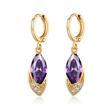 HUCHE Oval Drop Yellow Gold Filled Purple Sapphire Amethyst Women Party Earrings