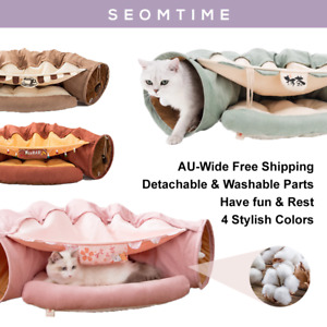 Large Cat Foldable Hiding Tunnel & Soft Cushion Bedding 4 Colors Canvas Pet Toy