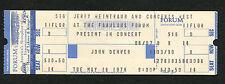1978 John Denver Unused Full Concert Ticket Los Angeles Windsong I Want To Live