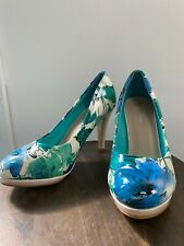 New Top Moda Floral High Heel Pumps Shoes Womens Size 7 Platform Round Toe
