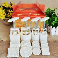 4x Hand Pressure Moon Cake Baking Mould Pastry Dessert Making Mold 3D Flower