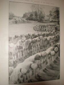 India army pray King Edward VII Fulham Palace by A Forestier 1902 print ref AW