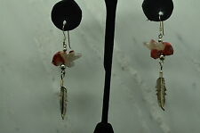 925 STERLING SILVER BEAR CARVED JASPER & FEATHER FISHHOOK EARRINGS #B3218