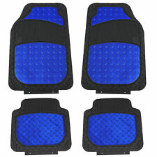 Metallic Rubber Floor Mats for Car SUV Truck Semi Universal Heavy Duty Blue