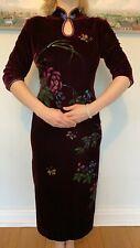 New Velvet Purple Flowers Chinese Long Dress Cheongsam Qipao