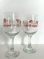 Libbey Valentines Wine Glasses Hearts Love Kisses Cupid Be Mine Set of 2 10oz