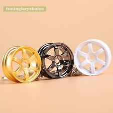 Lot 5PCS Zinc Mini TE37 wheel Rim keychain Key Chain Keyring Pendent 3 Colors