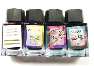 Ailicul set of 4 Sheen Bottled Ink 18 mL NEW Blue Green Red Purple Gold Flake