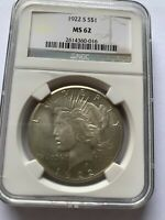 1922S Silver Peace Dollar San Francisco Mint MS62 NGC Coin