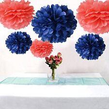 AllHeartDesires Set of 6 Coral Navy Blue Tissue Paper Flower Pompoms Wedding