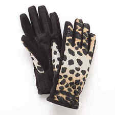 NWT Isotoner Womens Gloves Black Leopard SmarTouch Touchscreen XS S M L XL $46