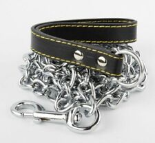 "4.0MM X 72"" Chrome Dog Chain Heavy Duty Pet Leash with Leather Hand Strap Train"