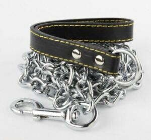 """4.0MM X 72"""" Chrome Dog Chain Heavy Duty Pet Leash with Leather Hand Strap Train"""
