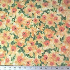 Stonehenge Daffodils In The English Garden Northcott Cotton Fabric 39177-52