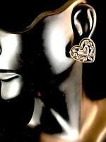 NIB BRIGHTON SILVER PLATED DECORATED HEART WITH A HEART PIERCED POST EARRINGS