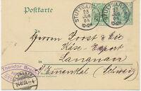 """DT.REICH """"STUTTGART No.2."""" K1 Kab.-GA-Postkarte 5 Pf Germania OHNE WASSERZEICHEN"""