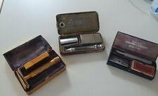 3 Vintage Shaving Kits -Gillette Khaki, Gold-tone Gillette, Valor Autostrop