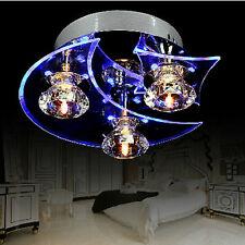 Lustre en cristal moderne LED encastré Salon 3 lumières ampoule incluse Bleu EU