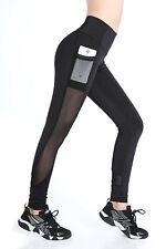 EAST HONG Women's Mesh Capri Workout Leggings Running Yoga Pants with Pocket L