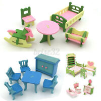 4 Set Wooden Doll House Miniature Furniture Home Living Room Children Toy  AU1