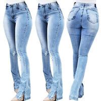 Women High Waist Hem Micro Bell-Bottom Denim Pants Jeans Stretch Ripped Trousers