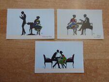 """3 Schachpostkarten der Serie """"Liebespaar"""" mit Scherenschnitten von Marte Graf"""