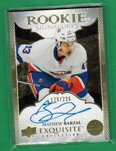 2016-17 UPPER DECK EXQUISITE COLLECTION MATHEW BARZAL AUTO ON CARD RC 179/225