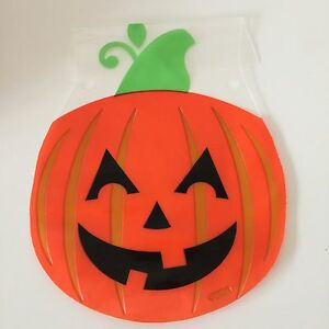 Pack Of 6 HALLOWEEN PUMKIN TREAT CELLO BAGS  trick or treat  sweets goodies
