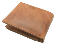 RFID Blocking Tan Handcrafted Cowhide Leather Men's Bifold Premium Wallet