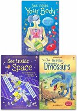 Usborne Flap Book See Inside Collection 3 Books Set Space Dinosaurs Body