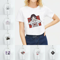 Women Anime Girl Graphic T-shirt Streetwear Casual Round Neck Tops Basic Tee