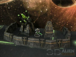 CC3D - Runic/ Necron Defence Wall - Wargames Miniatures Scenery 40k 28mm 15mm