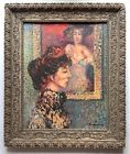 MYSTERY ANTIQUE Oil DIVISIONISM POINTILLISM WOMAN SIGNED MUSEUM QUALITY