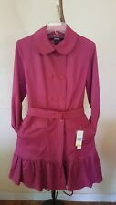 DKNY DOUBLE BREASTED SKIRTED HEM TRENCH COAT MAGENTA PINK SZ S $220 style 01229