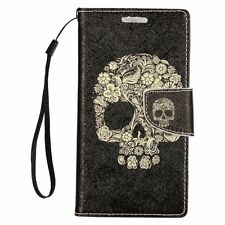 For Samsung Galaxy On5 Skull PU Leather Card Wallet Stand Flip Case Cover Black