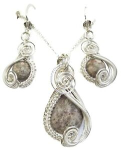 Crinoid Fossil Wire-Wrapped Earring/Necklace Sterling Silver w Swarovski Crystal